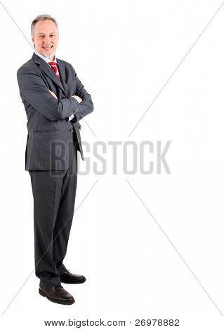 Elder businessman full length isolated on white