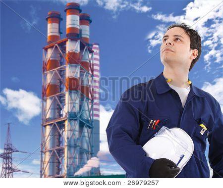 Retrato de un joven trabajador guapo