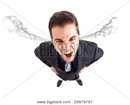 Angry frustrated businessman with exploding head