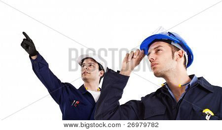Two engineers directing works isolated on white