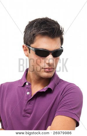 Young handsome man wearing dark sunglasses. Isolated against white background.
