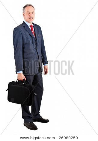 Elder businessman full length isolated on white holding a briefcase
