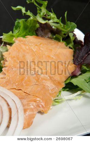 Alasken Smoked Sockeye Salmon Starter On A Bed Of Lettuce