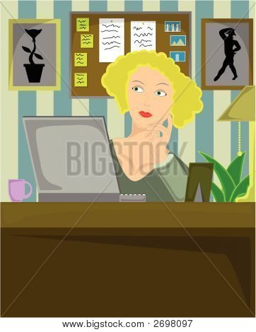 Blond Female Sitting In Home Office