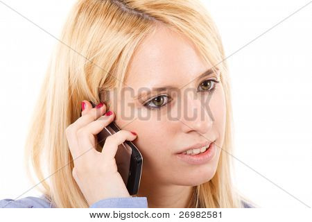 Portrait of a beautiful business woman at the mobile phone