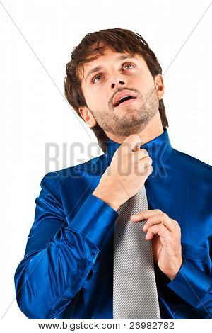 Businessman adjusting his collar