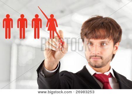 Concepto del negocio: Gerente de una trabajadora de la leña