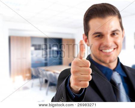Closeup of good looking business man gesturing ok sign