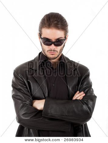 Handsome guy wearing a leather jacket
