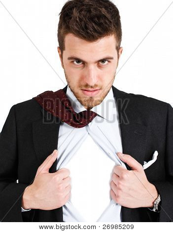 Businessman tearing his shirt like a superhero. You can add your own logo.