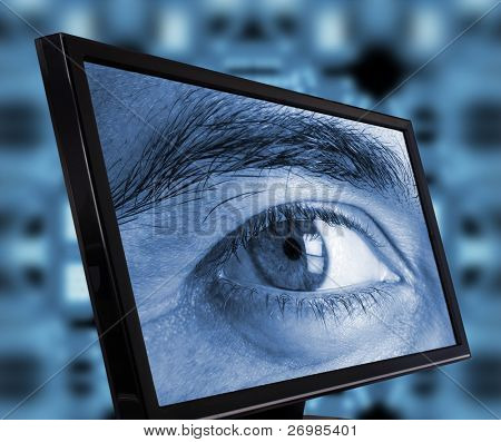 Eye spying trough a computer monitor