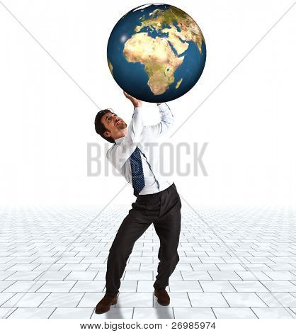 Businessman trying to sustain the weight of the world