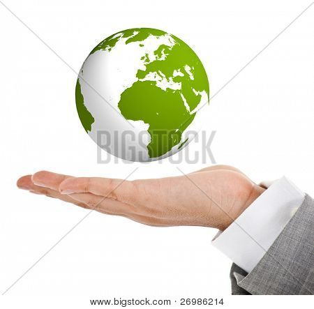 Hand holding a green globe