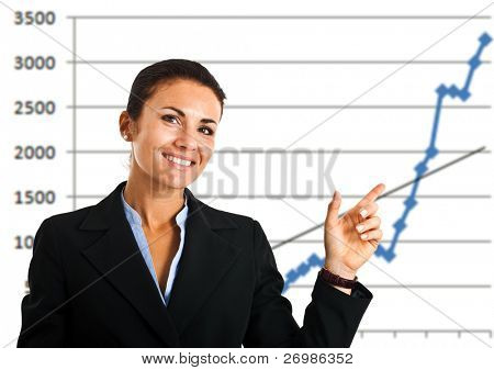 Businesswoman showing a growing business graph isolated on white