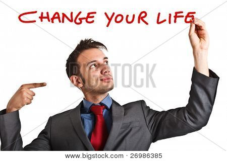 Friendly businessman suggesting you to improve your life