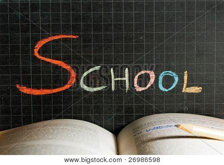 Word School written on a blackboard. Education concept