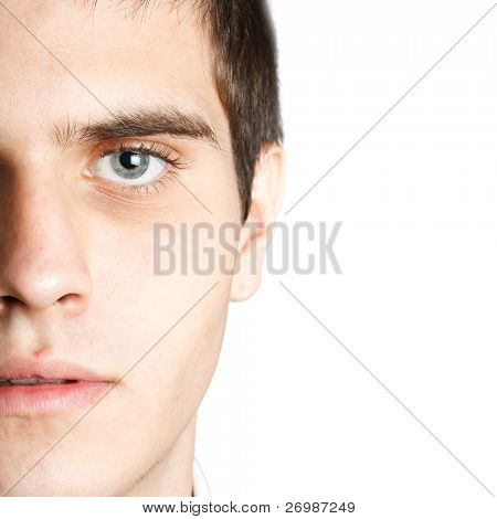 Closeup portrait of an attractive man with beautiful eyes