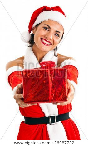 Santa Claus woman holding a gift for you