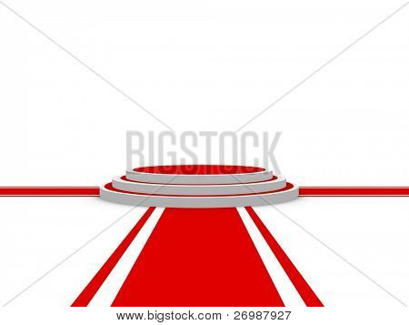 Isolated Round pedestal with three red carpets from different directions