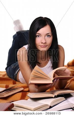 girl searching the book