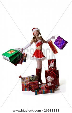 Sexy Santa with gifts and shopping