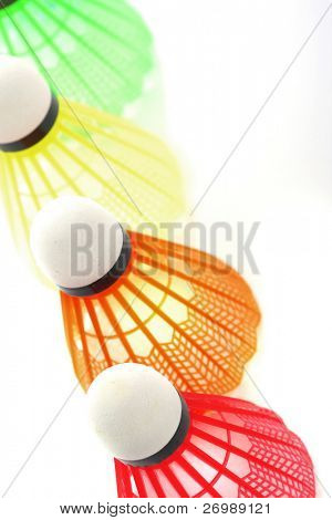 Image of the colorful shuttlecocks for badminton
