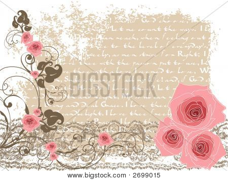 Sweet Pink Roses And Vintage Poem (Vector)