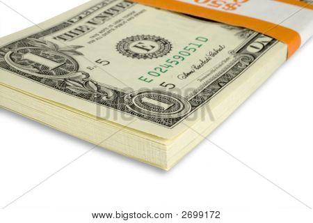 Close-Up Of A $50 Bundle Of American $1 Bills.