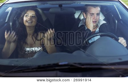 The image of a family quarrel driving