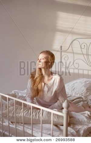 The image of the girl in the morning sun