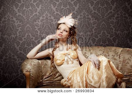 The image of a woman in a luxurious vintage-style
