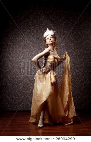 A imagem de uma mulher em um luxuoso estilo vintage
