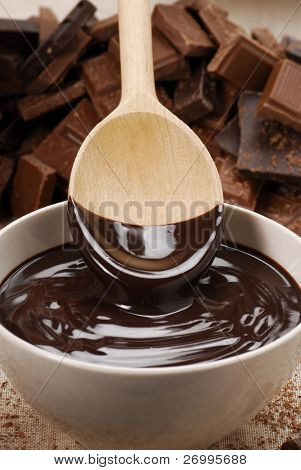 Chocolate pudding and spoon.