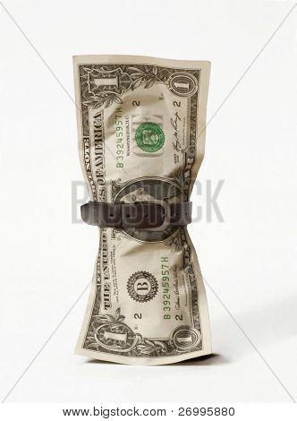 One dollar bill with a belt. One dollar bill.