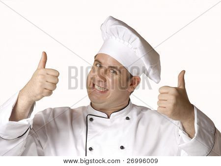 One happy chef with thumbs up sign on white background.