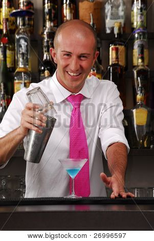 Barkeeper pouring liquor. Bartender pouring liquor. Bartender working.