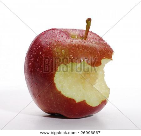 red apple with bite isolated on white background.
