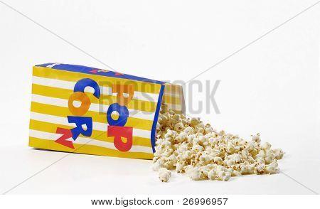 Popcorn bag on white background.