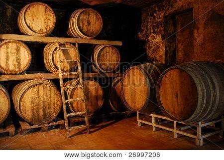 Detalle de una fermentación barriles cuarto.