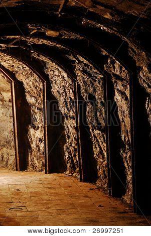 Wine cellar view in Asti Italy.