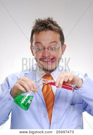 Funny scientist mixing an experimental formule. Scientist mixing chemicals.