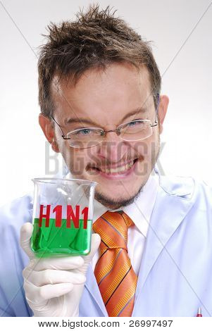 Funny scientist holding an experimental swine flu glass. A doctor holding an experimental glass.