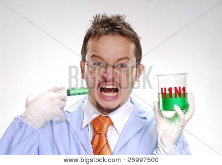 A crazy scientst injecting himself a swine flu formula.