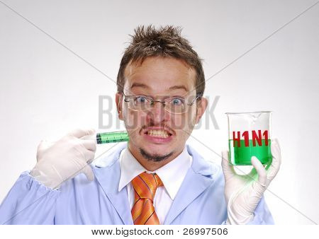 A crazy scientst injecting himself a swine flu formula.