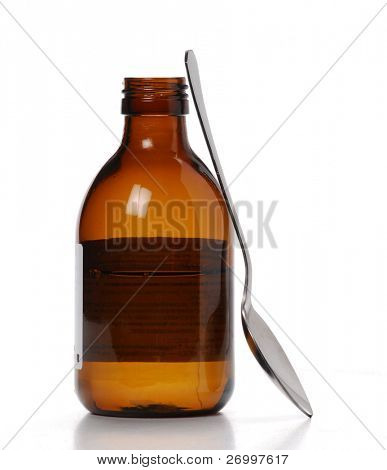 One Syrup bottle and teaspoon.