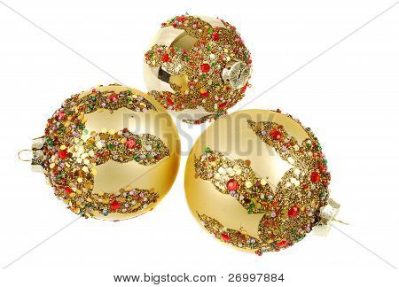 Gold Christmas Decoration On Thesparkle Background