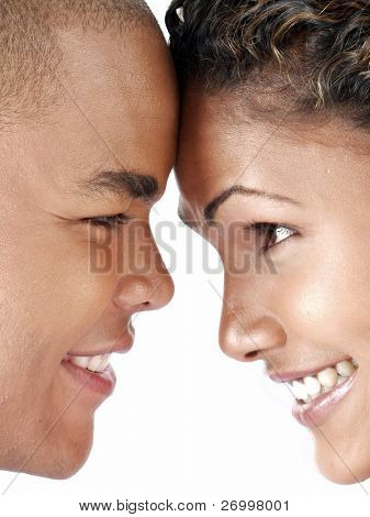 couple looking into each other's eyes and smiling