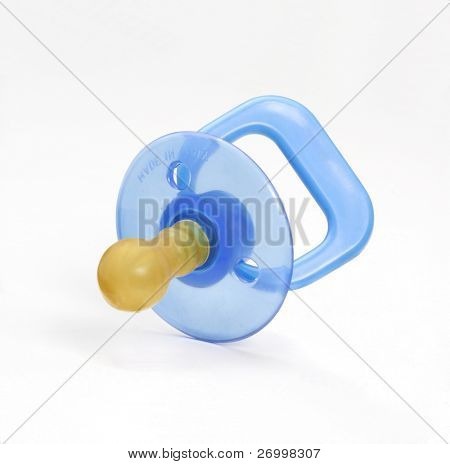 Blue pacifier isolated on white background.