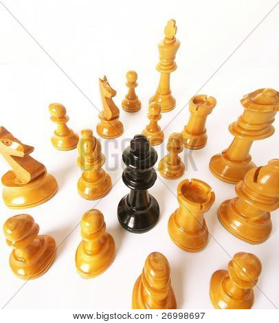 chess game over wood chart. Queen cornered.