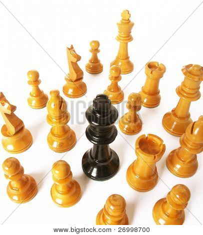 chess game over wood chart.queen cornered.r